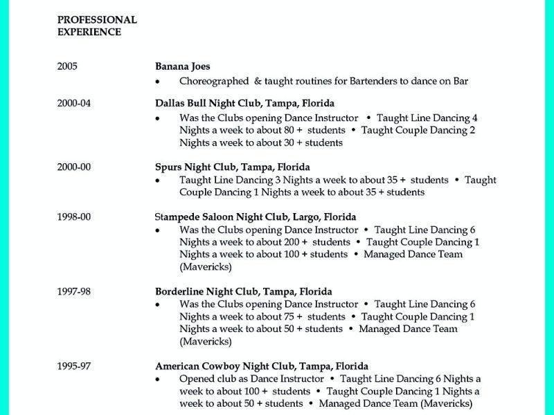 Download Dance Resume Template | haadyaooverbayresort.com