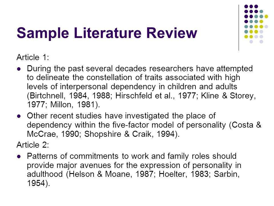 Sample Of A Literature Review For Research Paper Academic ...