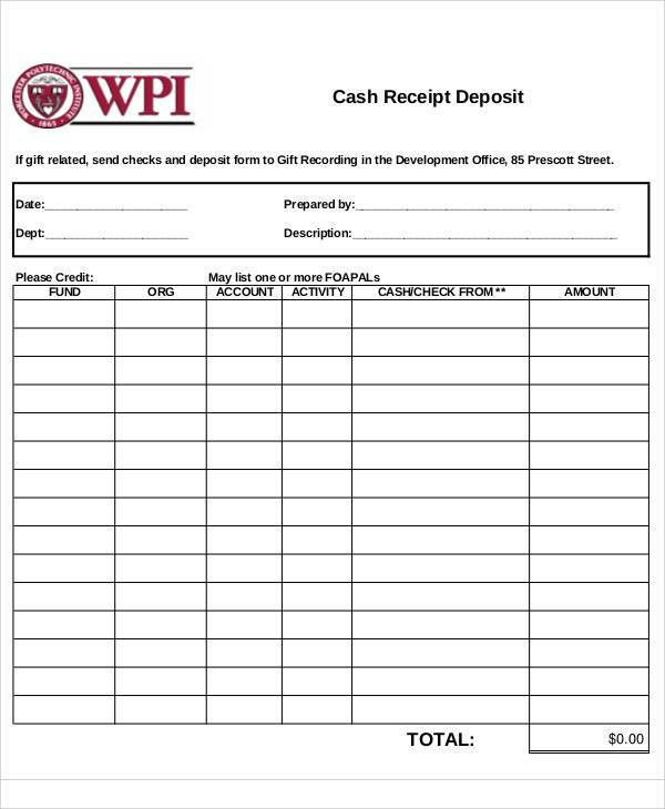 Receipt Form. Free Receipt Template | Rent Receipt And Cash ...