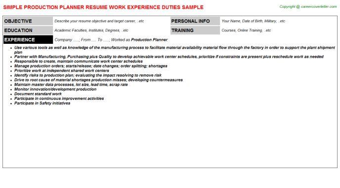 planner resume example. manufacturing scheduler sample resume ...