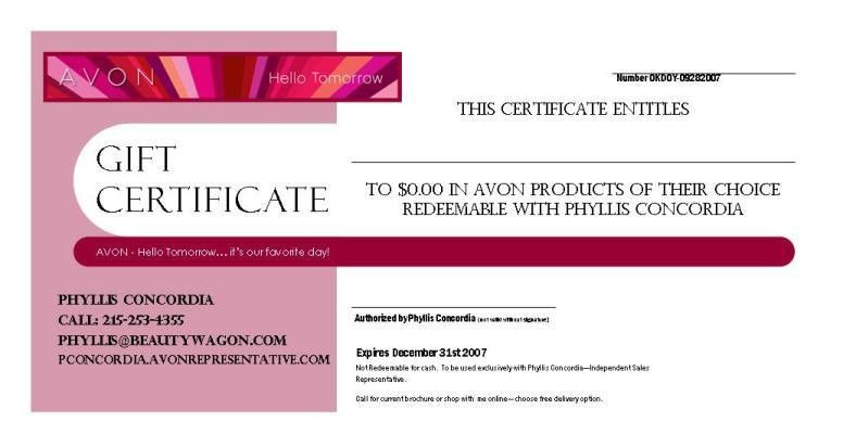 AVON – Gift Certificate Example | Beauty Wagon