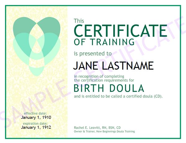 Sample of Training Certificate - New Beginnings Doula Training