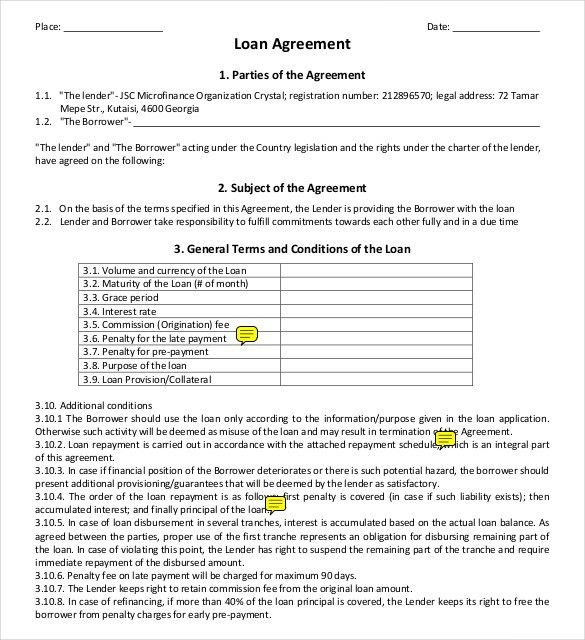 Captivating Sample Construction Loan Agreement. Loan Agreement 9+ Construction .