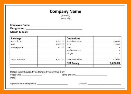 7+ simple salary slip format | simple cv formate