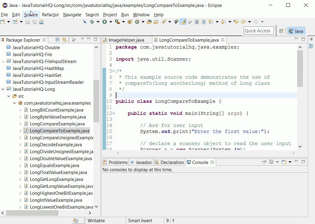 Java long compareTo(Long anotherLong) method example