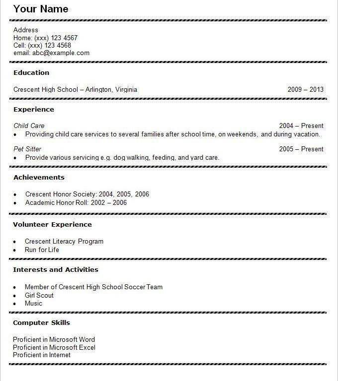Home Design Ideas. highschool student resume free resume example ...