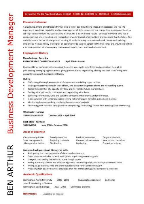 Business Development Manager personal statement - Writing Resume ...