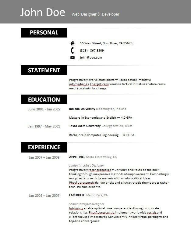 Resume Templates Free Printable. Free Printable Resume Template ...