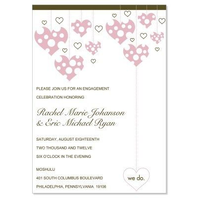 Pink & Brown Engagement Party Invitation Templates - Veronica ...