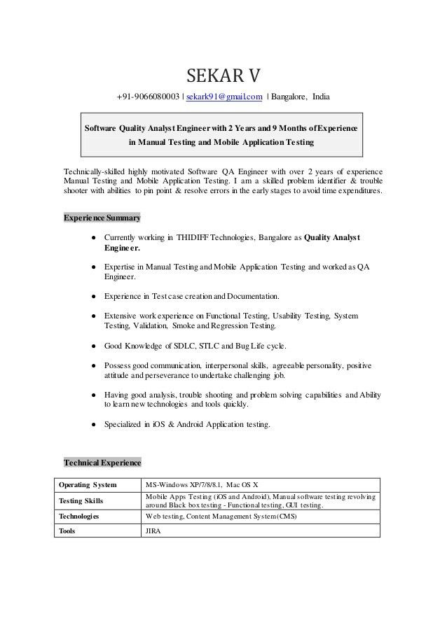 Sekar-Quality Analyst Resume.doc