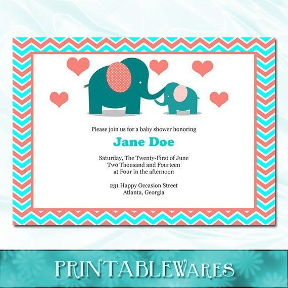 Items similar to Elephant Baby Shower Invitation - Coral Aqua Blue ...