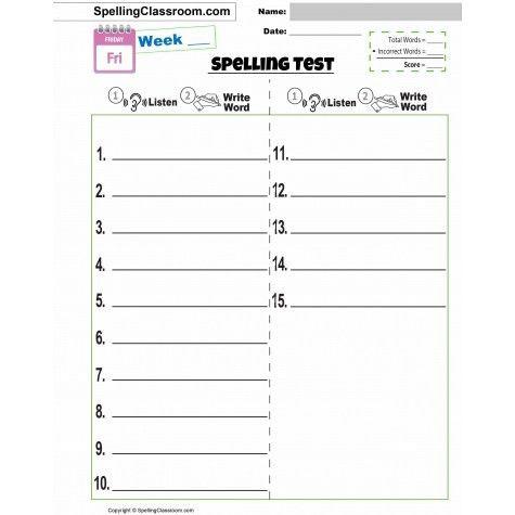 FREE Spelling Test Template _ 10 | 15 | 20 | 30 WORD LISTS | BONUS ...