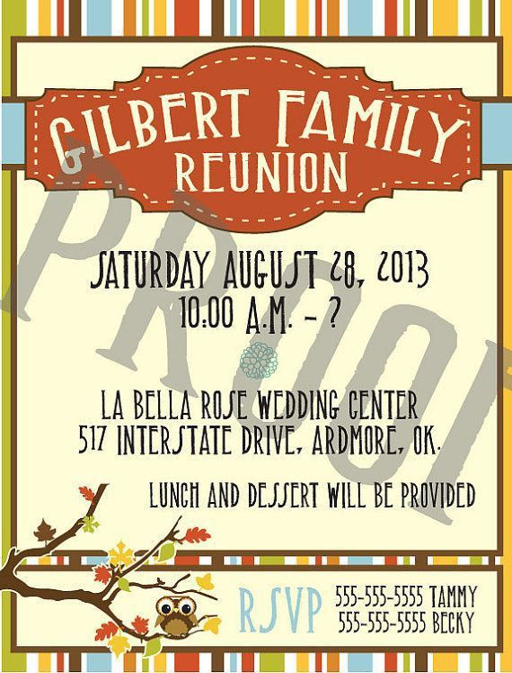 21 best Family Reunion Invitations images on Pinterest | Family ...