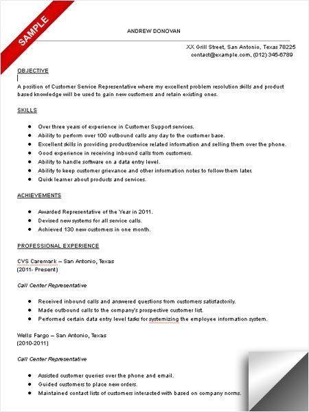 Call Center Resume Skills 1 Call Center Representative Resume ...