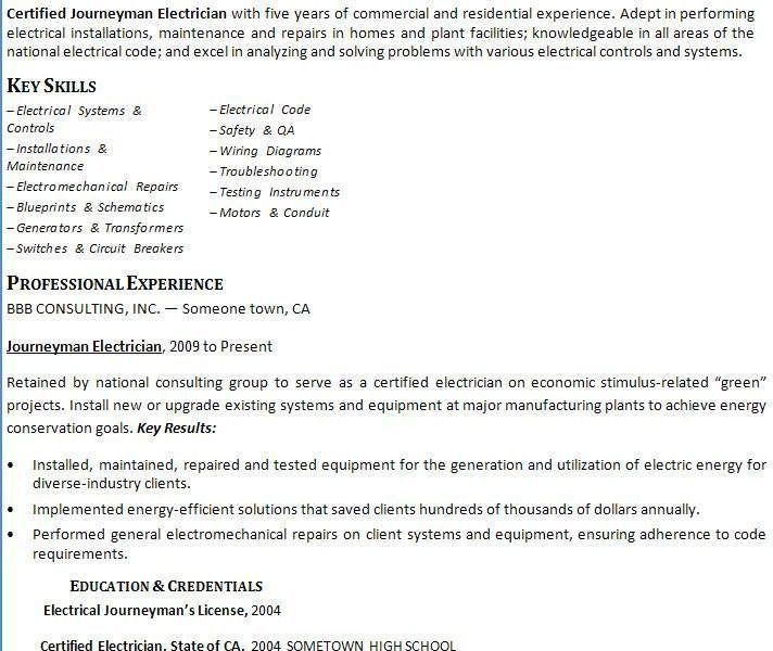 image result for journeyman electrician resume samples ...