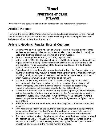 Investment club bylaws - Office Templates