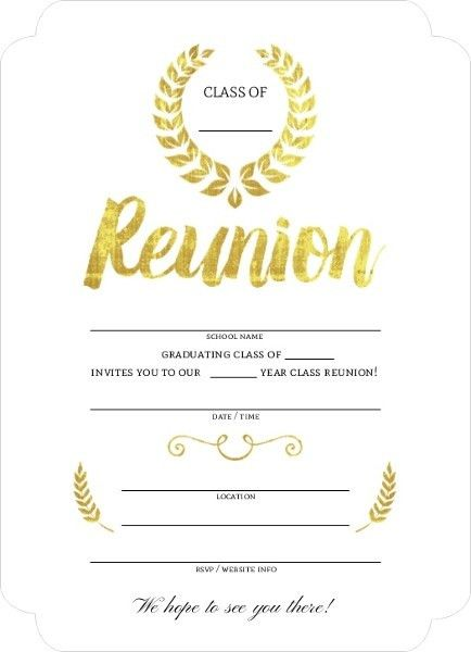 Beautiful Faux Gold Foil Fill In The Blank Class Reunion ...