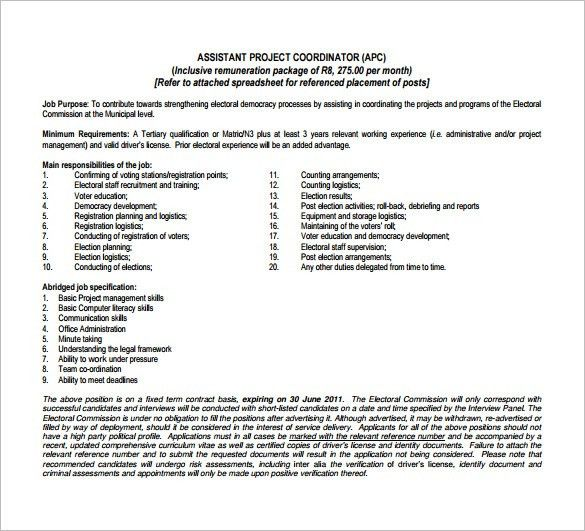 Project Coordinator Job Description Template – 9+ Free Word, PDF ...