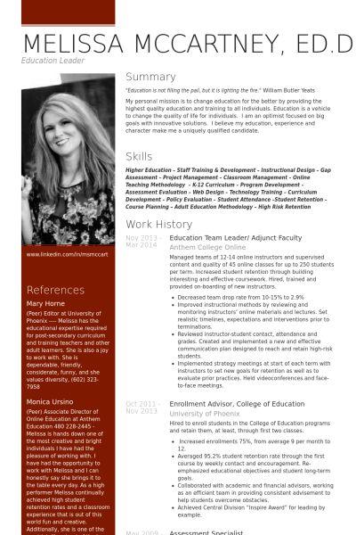 Adjunct Faculty Resume samples - VisualCV resume samples database