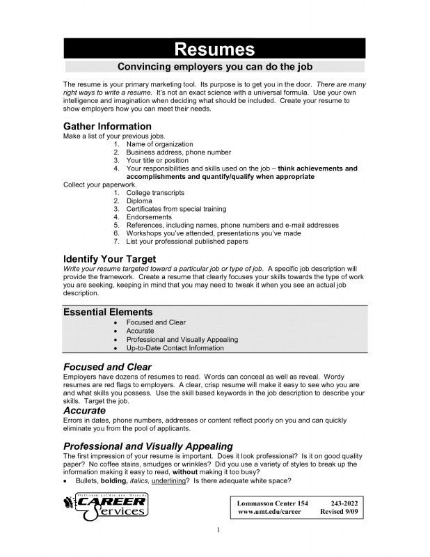 Resume For A Job Example | Samples Of Resumes