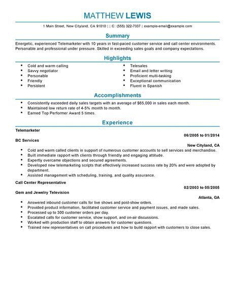 Best Experienced Telemarketer Resume Example | LiveCareer
