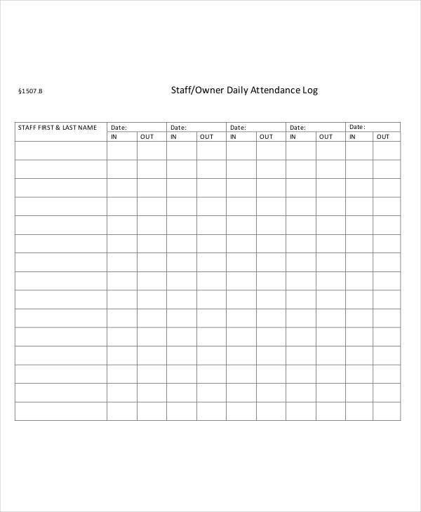 Attendance Log Templates - 9+ Free PDF Documents Download | Free ...