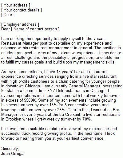 Sample Restaurant Manager Covering Letter
