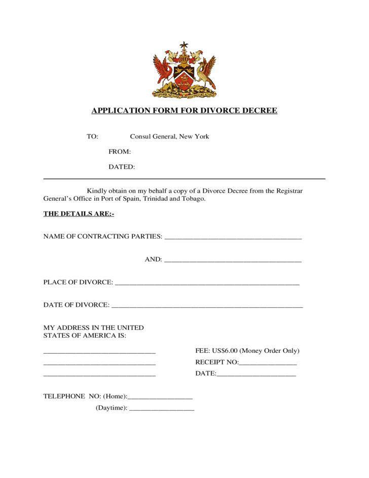 Application Form for Divorce Decree - New York Free Download