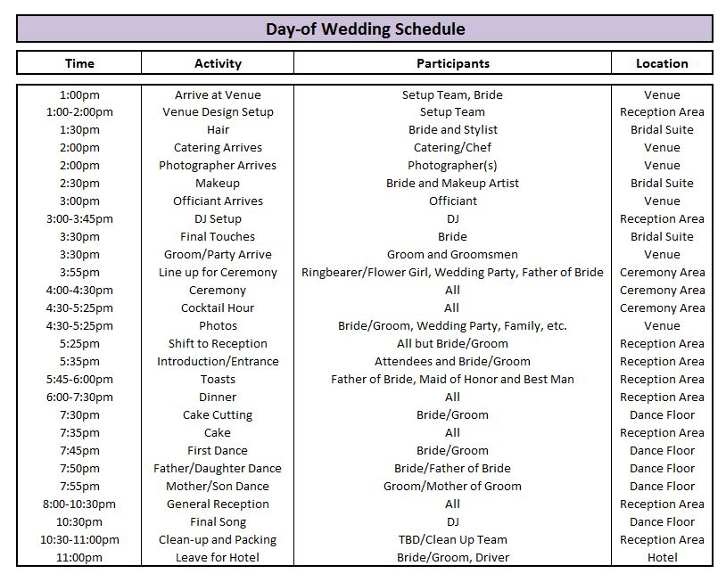 Wedding Day Schedule Pinterest Budgeting - DIY Wedding • #47383