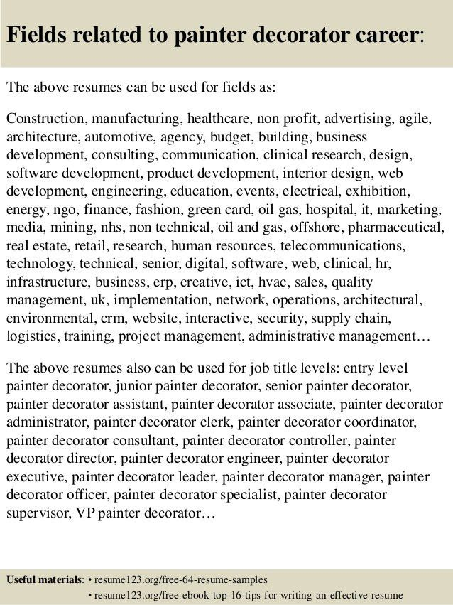 Top 8 painter decorator resume samples