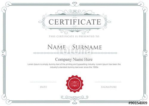 "Certificate border vector elegant flourishes template"" Stock image ..."