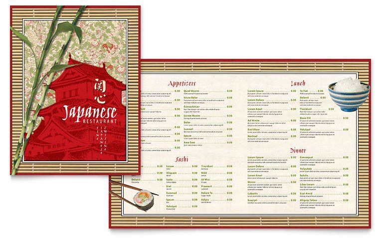 Japanese Restaurant Menu Template - Word & Publisher