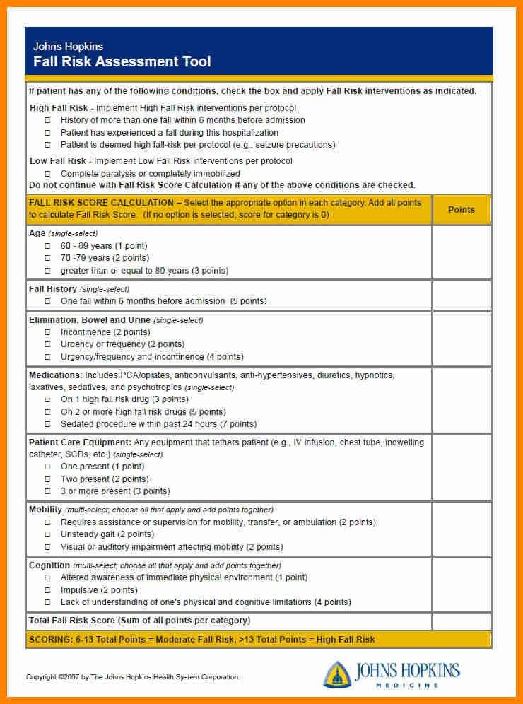 4+ fall risk assessment form free download | job resumed