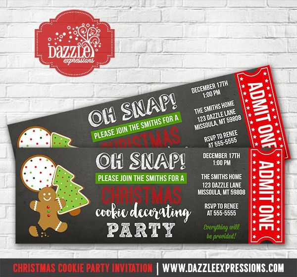 Printable Christmas Cookie Decorating Party Ticket Invitation ...