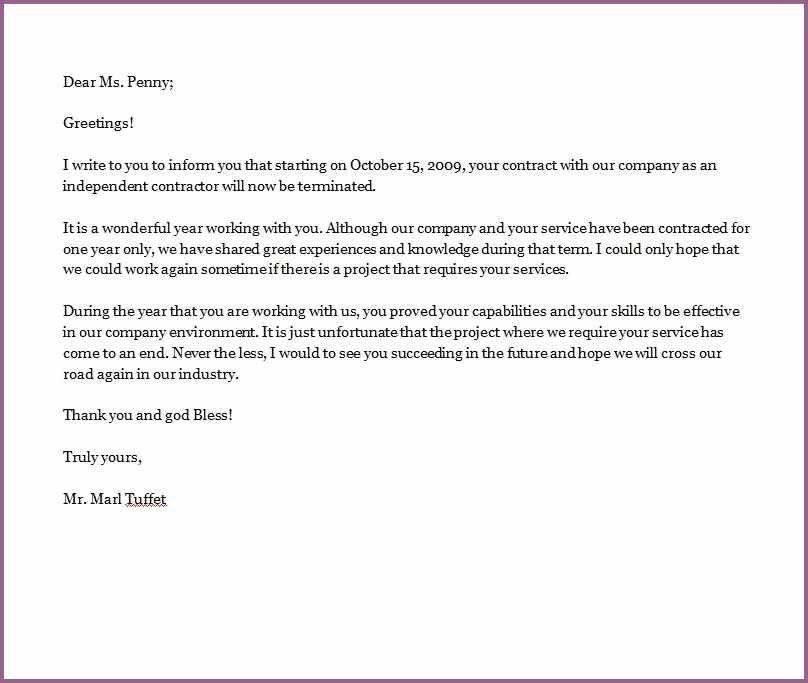 CONTRACT TERMINATION LETTER | designproposalexample.com