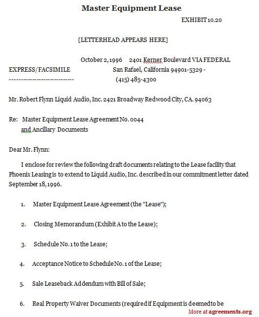 Equipment Rental Agreement. Rental Lease Agreement Templates Free ...