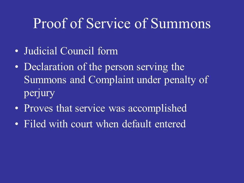Civil Procedure – L.A. 310 Summons, Complaint Service of Process ...