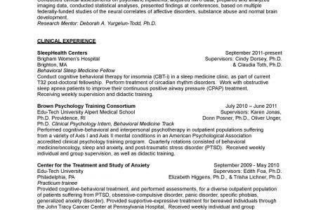 Clinical Psychologist Sample Resume: Clinical Psychology Resume ...
