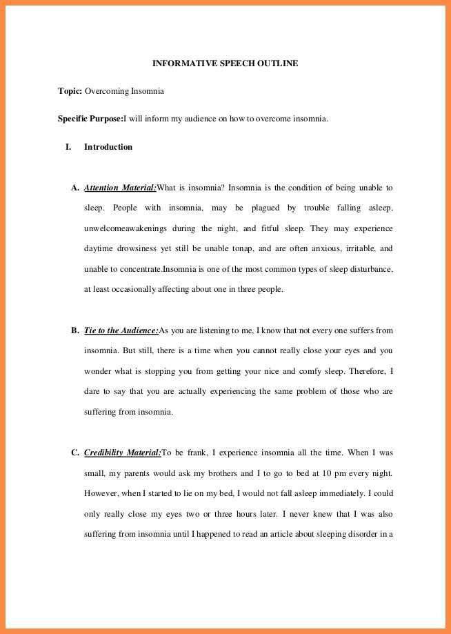 speech outline example | resume name