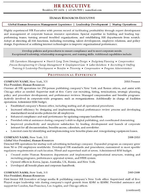 Human Resources Manager Resume Sample | Experience Resumes