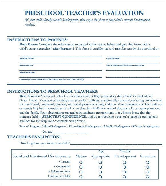 Sample Teacher Evaluation Form Example. Sample Feedback Form For ...
