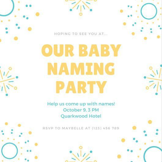 Blue Yellow Fireworks Illustration Baby Naming Ceremony Invitation ...