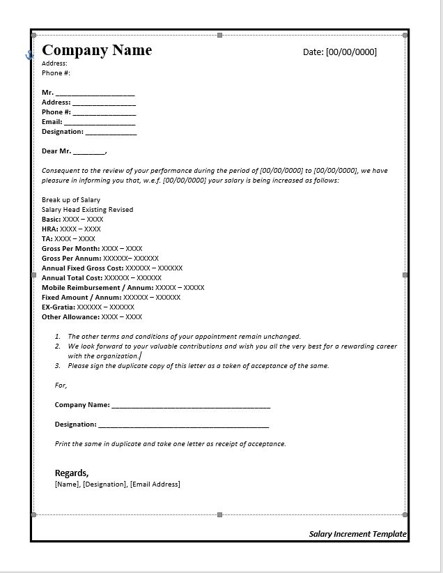 Salary Increase Letter Template From Employer To Employee | Free ...