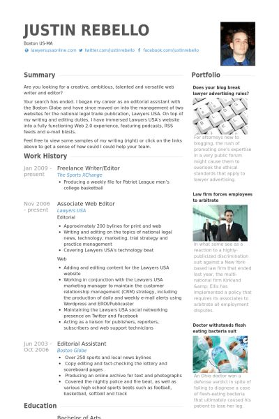 Freelance Writer/Editor Resume samples - VisualCV resume samples ...