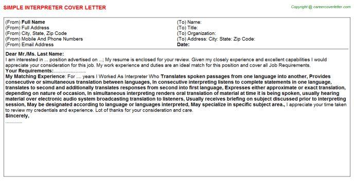 language interpreter cover letter