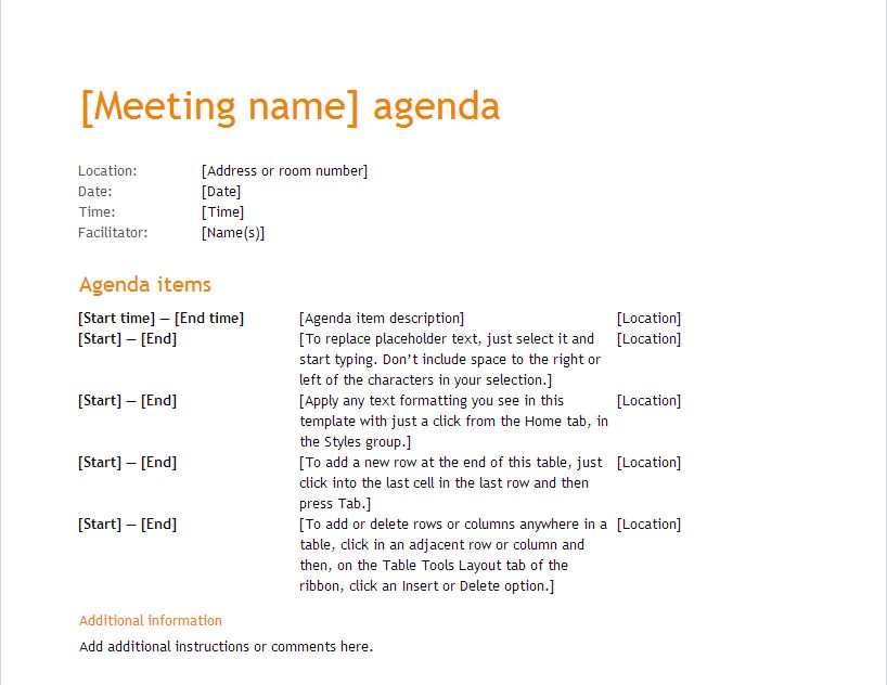 11 Microsoft Word Meeting Agenda Template 10 | Professional Templates