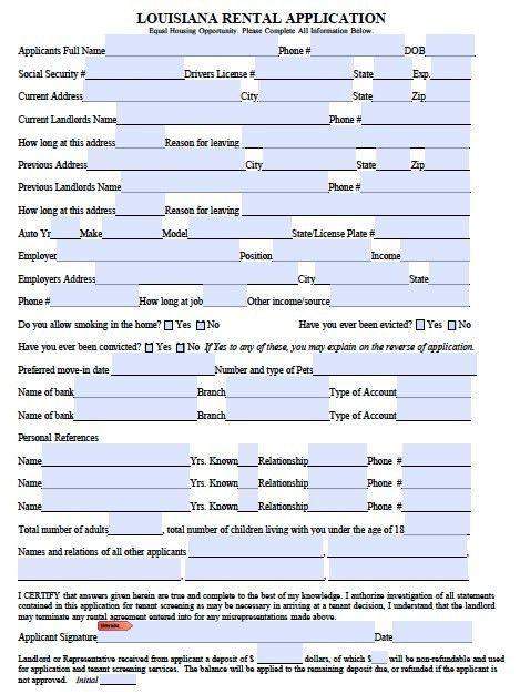 Printable Sample Rental Application Form Form | Real Estate Forms ...