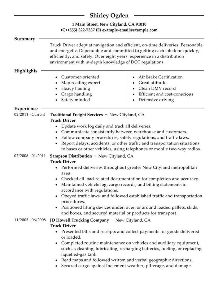 resume samples for truck drivers truck driver resume sample and