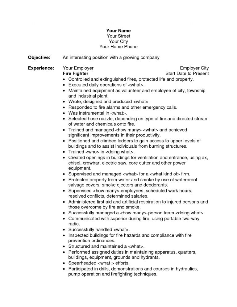 Prissy Inspiration Firefighter Resume Examples 15 Sample Fire ...