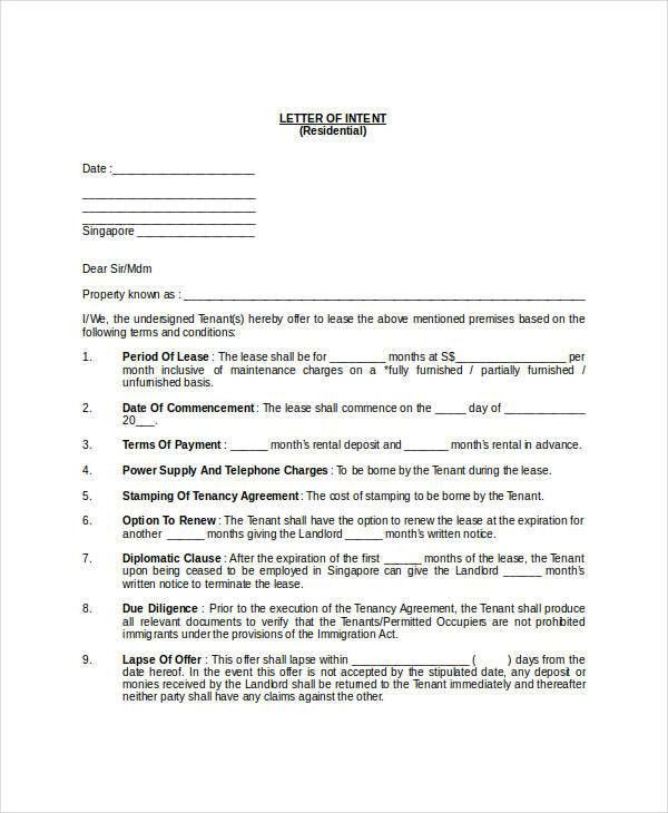 40+ Letter of Intent Templates - Free Word Documents Download ...
